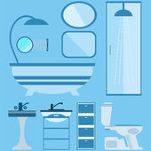 Flat style vector illustration. Bathroom interior with furniture — Stock Vector