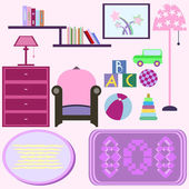 Baby room with pink furniture. Nursery interior. Flat style vect — Stock Vector