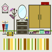 Vector hall interior. furniture and mirror, clothes hanger and a — Vettoriale Stock