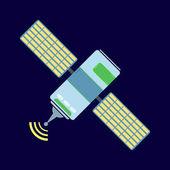 Geïsoleerde communicatie satelliet pictogram met zonnecellen — Stockvector