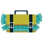 Walizka pełna pieniędzy — Wektor stockowy