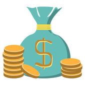 Stacks of coins and money bag — Stock Vector