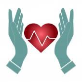 Corazón del vector latido electrocardiógrafo icono de asimiento de la mano — Vector de stock