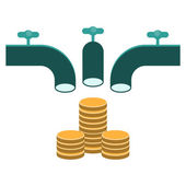 Crowd funding, faucet pouring money — Stock Vector