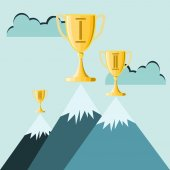 Trophy atop high mountain peak, Business concept — Vecteur