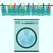 Money laundering in washing machine vector illustration — Stock Vector
