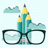 Glasses on Pencil  . The image of professors, graduate for your  — Stock Vector