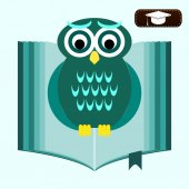 Back to school. Wise owl with books and graduate cap. Educationa — Stock Vector