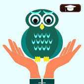 Closeup of a persons hands protecting a Owl. symbol education — Stock Vector