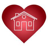 Mild rött hjärta med hus form inuti vektor illustration — Stockvektor