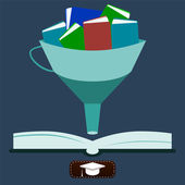 Illustration of knowledge, Funnel with books — Stock Vector