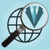 Isolated icon symbol employment center with suit, magnifier and  — Vettoriale Stock