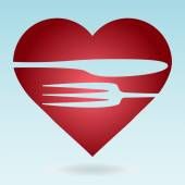 Lovely food logo template. Fork and knife silhouettes with heart — 图库矢量图片