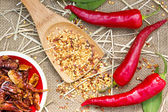 Red hot chili peppers on burlap sack background — Stock Photo