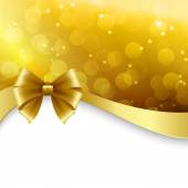 Shiny Holiday background with gold bow. Christmas Gift card — Wektor stockowy