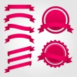 Set of pink paper ribbons, labels and badges — Stock Vector #67786449