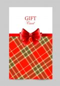 Greeting card with red bow, tartan — Stock Vector
