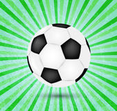 Creative football vector design on green background.Football with colorful ray abstract background — Stock Vector