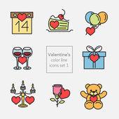 Conjunto de iconos de San Valentín planos y línea — Vector de stock