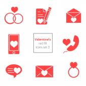 Set of Valentines Icons line and flat fill — Stock Vector