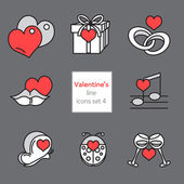 Set of Valentines Icons Filled with love — Stock Vector