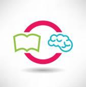 Book and brain icon — Stock Vector