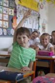 Nerd in primary school — Stock Photo