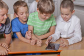 School kids with tablet PC — Stock Photo