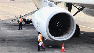 Aircraft Jet Engine Rotation — Stock Video