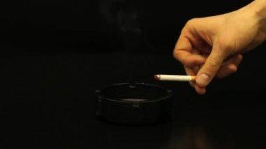 Black Ashtray With  Cigarette — Stock Video