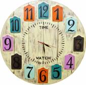 Wooden Clock face — Stock Photo
