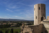 View of the valley of Assisi from the Gate of Venus in Spello — Stock Photo