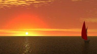 Scarlett sails on orange sunrise — Video Stock