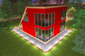 Red cottage with illumination1 — Stock Photo