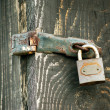 Old Wooden door locked with rusty padlock — Stock Photo #69329345