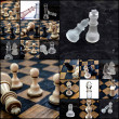 Chess pieces, collage — Stock Photo #71073819