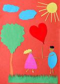 Postal de papel hecho a mano de San Valentín — Foto de Stock
