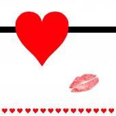 Hearts and lipstick kiss post card — Stock Photo