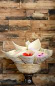 Roses lobes in the basket — Stock Photo