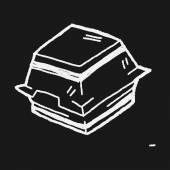 Doodle Burger Box — Stock Vector