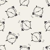 Doodle alarm clock seamless pattern background — Stock Vector