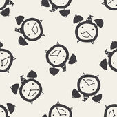 目覚まし時計のシームレスなパターン背景を落書き — ストックベクタ