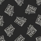 Doodle House seamless pattern background — Stock Vector