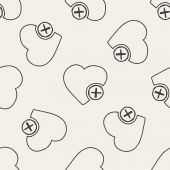 Doodle Heart seamless pattern background — Stock Vector