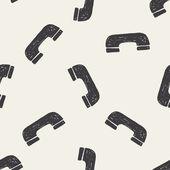 Fondo senza cuciture telefono Doodle — Vettoriale Stock