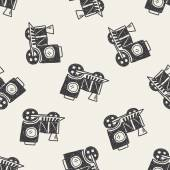 Doodle Train seamless pattern background — Vettoriale Stock