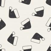 Christmas hat doodle drawing seamless pattern background — Stok Vektör