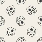 Dice doodle drawing seamless pattern background — Stock Vector