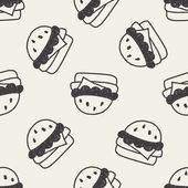 Hamburger doodle drawing seamless pattern background — Stock Vector