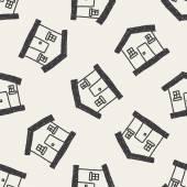 家図面のシームレスなパターン背景を落書き — ストックベクタ